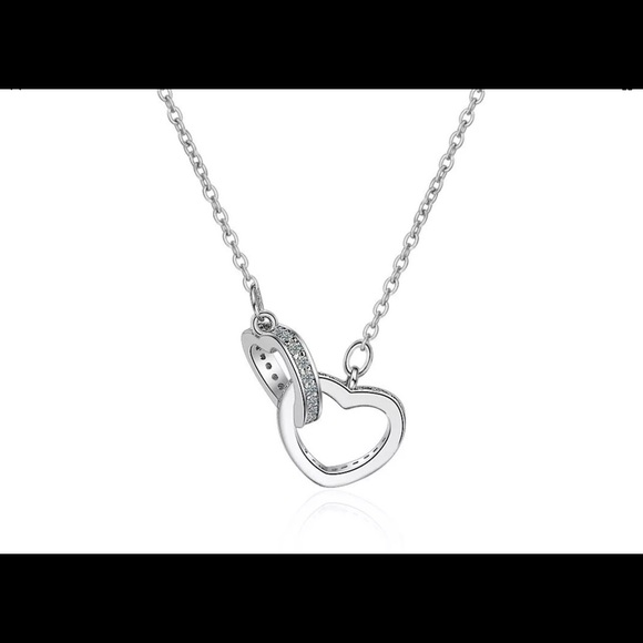 925 Sterling Silver Double Love Heart Necklace